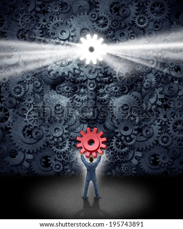 Leadership support concept as a businessman holding the missing key cog to a large corporation as a group of gears shaped as a human face as a symbol and metaphor for new business ideas. - stock photo