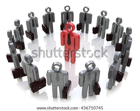 Leadership, teamwork, individuality and social media network business internet web ?concept: single red 3D people figure inside of group of man figures arranged in circle isolated. 3d illustration - stock photo