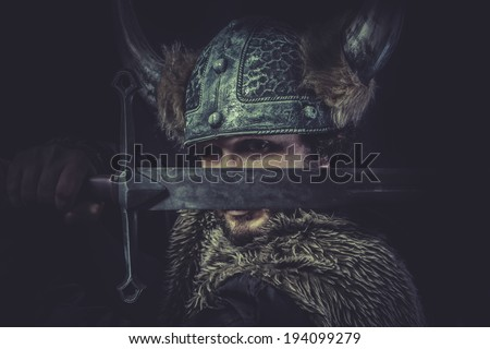 Leadership, Viking warrior with a huge sword and helmet with horns