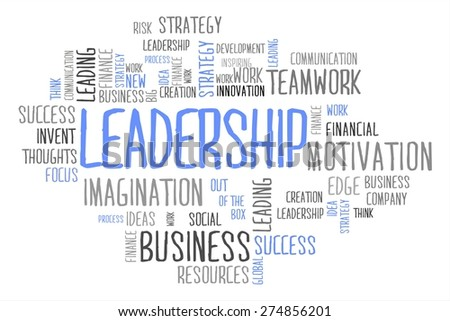 leadership word cloud business concept in white background