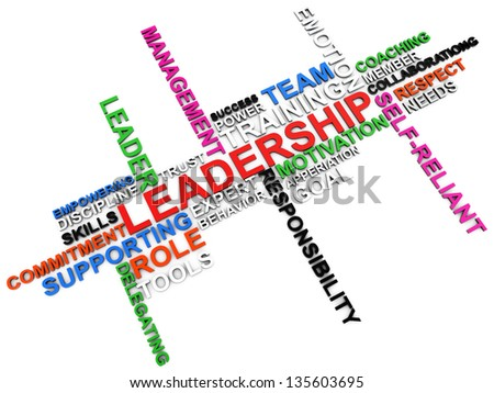 leadership word cloud over white background - stock photo