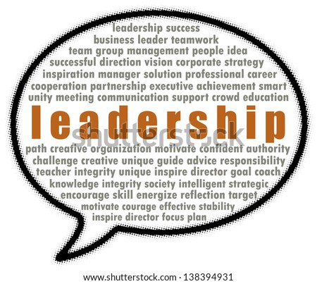Leadership word collage in speech bubble - stock photo