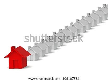 Leading red house - stock photo