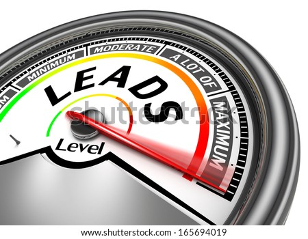 leads conceptual meter indicate maximum, isolated on white background