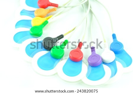 leads of  electrocardiogram equipment  - stock photo