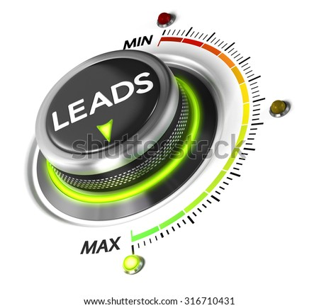Leads switch button positioned on maximum, white background and green light. Conceptual image for leads generation illustration. - stock photo