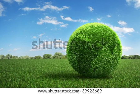 Leaf covered Earth on a green  field of grass - stock photo