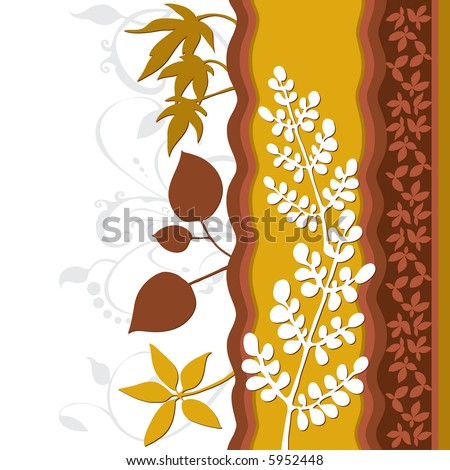 Leaf floral design. Created in rich earth tones. - stock photo