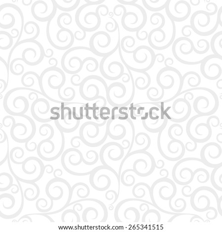Leaf, floral pattern from curls. Gray and white ornament. Seamless  background. - stock photo