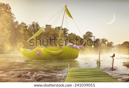 Leaf green ship with moon and mist