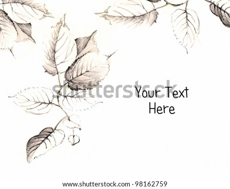 Leaf hand made drawing with the space for the text - stock photo