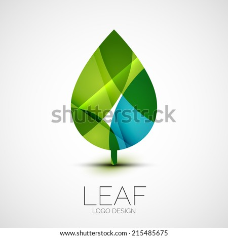 Leaf logo, concept, branding logotype design - stock photo