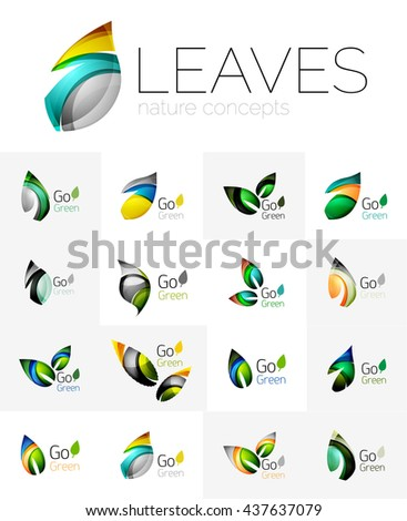 Leaf logo set. collection of abstract geometric design futuristic leaves - go green logotypes. Created with color overlapping geometric elements - waves and swirls. Shiny and glossy effects - stock photo