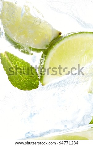 leaf mint and cut citrus in ice - stock photo