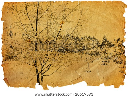 Leaf of the old turned yellow paper with a landscape