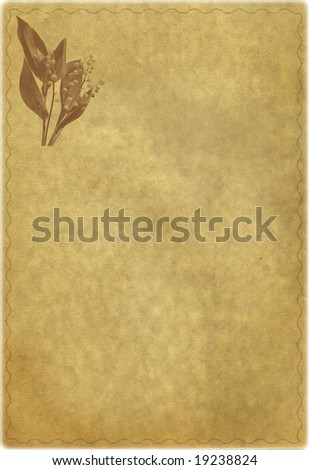 Leaf of the old turned yellow post paper with bouquet of lilies of the valley. Stylization