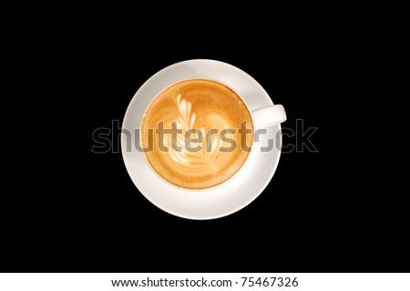 Leaf shape latte art - stock photo