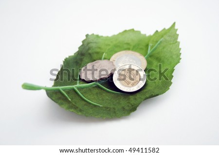 Leaf with coins money