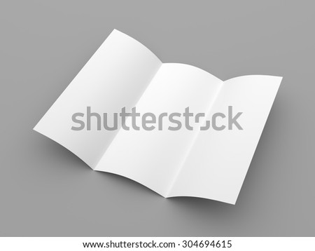 Leaflet blank trifold white paper brochure mockup on grey background - stock photo