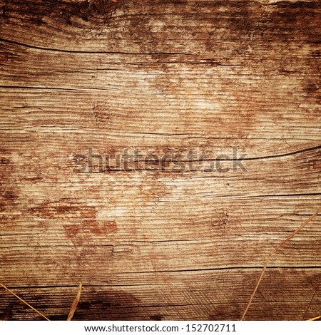 leafs and flowers on the wooden background - stock photo