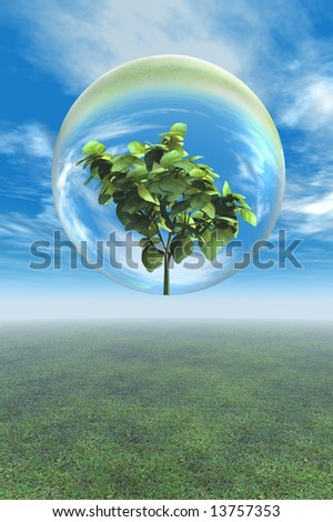 Leafy plant preservation in glass bubble as metaphor for going green, environmental issues, and conservation. - stock photo