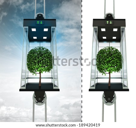 leafy tree in sky elevator concept also isolated one illustration - stock photo