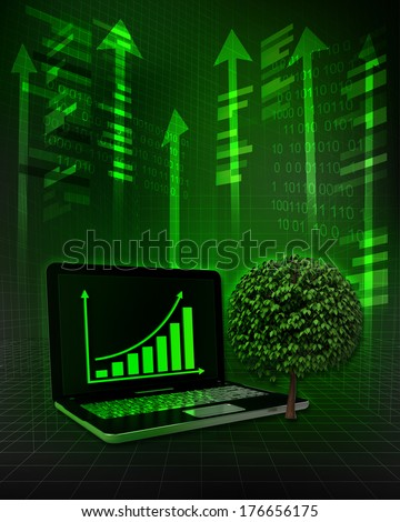 leafy tree with positive online results in business illustration - stock photo