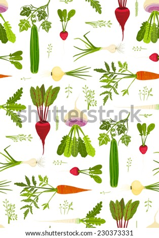 Leafy Vegetables and Greens Seamless Pattern Background. Market fresh roots with leaves. Raster variant - stock photo