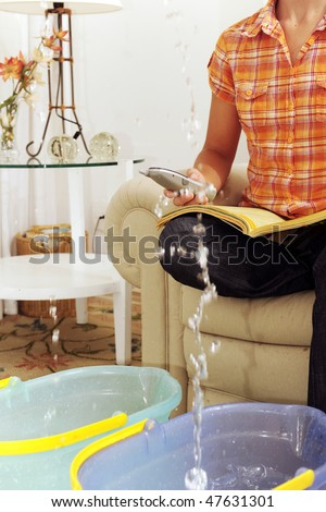 Leaking Roof Pipe Burst Woman Calling Stock Photo 47631301