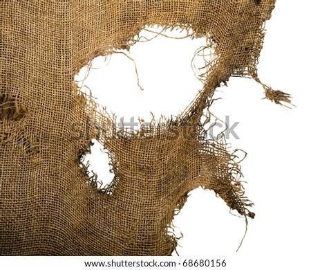 Leaky, Frayed, coarse cloth, burlap. Background. Isolated - stock photo