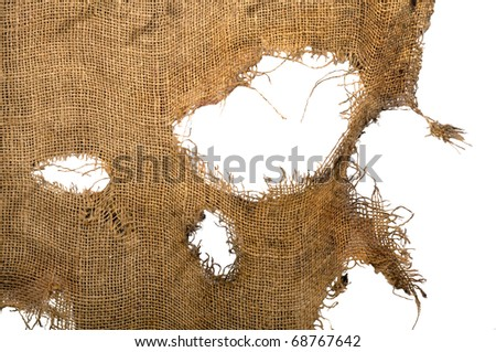 Leaky, Frayed, coarse cloth, burlap. Background. Isolated - stock photo