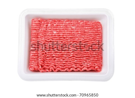 Lean ground beef in white Styrofoam meal box - stock photo