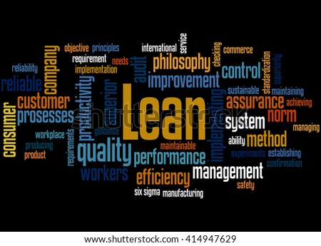 Lean - management approach, word cloud concept on black background.