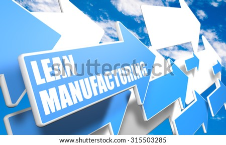 Lean Manufacturing - 3d render concept with blue and white arrows flying in a blue sky with clouds - stock photo