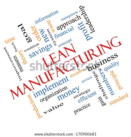 Lean Manufacturing Word Cloud Concept Angled with great terms such as quality, discipline, concept and more. - stock photo