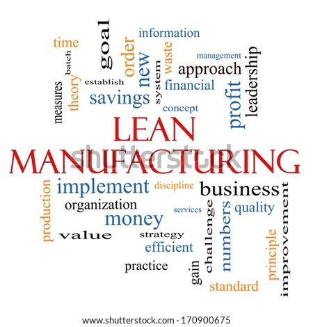 Lean Manufacturing Word Cloud Concept with great terms such as quality, discipline, concept and more. - stock photo