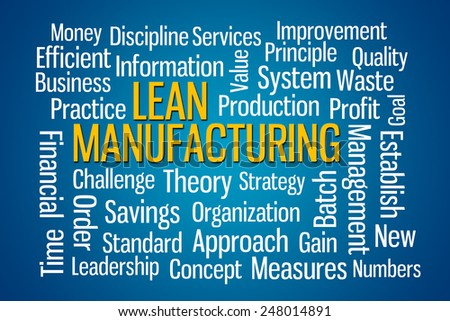 Lean Manufacturing word cloud on Blue Background - stock photo