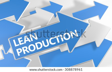 Lean Production - 3d render concept with blue and white arrows flying over a white background. - stock photo