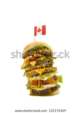 Leaning Burger with an Canadian Flag on a white background. - stock photo