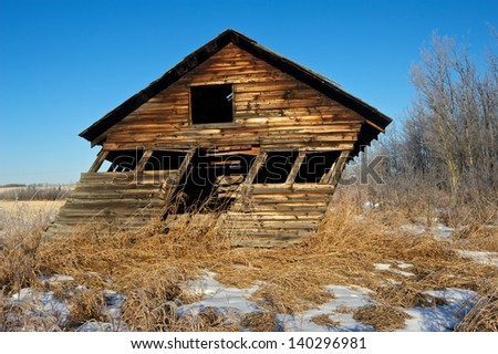 leaning shed  front view - stock photo