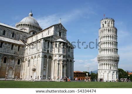 Leaning Tower and Cathedral in Pisa, Italy. - stock photo