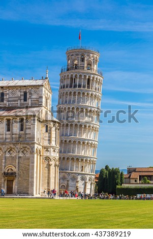 Leaning tower and Pisa cathedral in a summer day in Pisa, Italy - stock photo