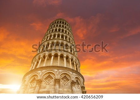 Leaning tower and the cathedral baptistery, Italy - stock photo
