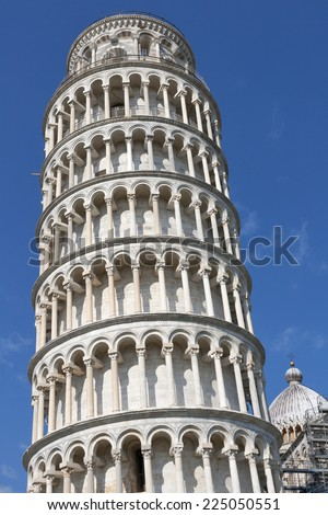 Leaning Tower of Pisa against blue sky in the Campo Dei Miracoli, Pisa, Italy