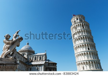 Leaning tower of Pisa and cathedral - stock photo