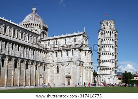 Leaning Tower of Pisa and the Cathedral in Pisa, Italy - stock photo