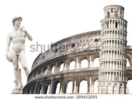 Leaning Tower of Pisa, Colosseum and Michelangelo's David. Isolated over white - stock photo