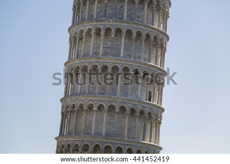 Leaning Tower of Pisa in Tuscany, one of the most recognized and famous buildings in the world - stock photo