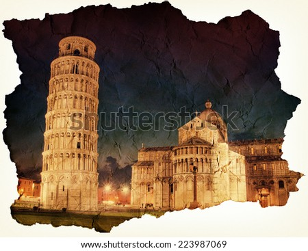 Leaning Tower of Pisa on old grunge paper - stock photo