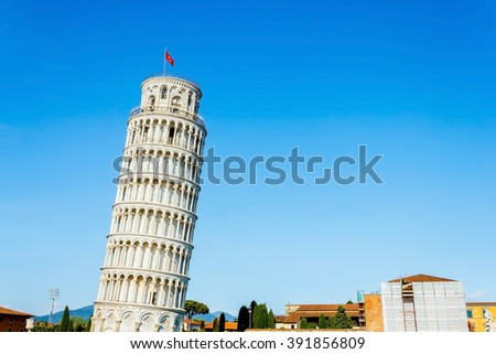 Leaning tower Pisa and blue sky on sunny day, Tuscany, Italy - stock photo
